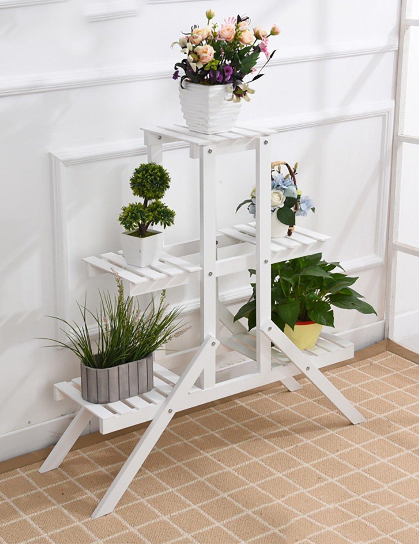 Massivholz kreative Blumenregal ländlichen Blumenregal multifunktionale Multi-Regal Balkon Blumenregal Boden Typ Wohnzimmer Fold Flower Rack ( farbe : E )