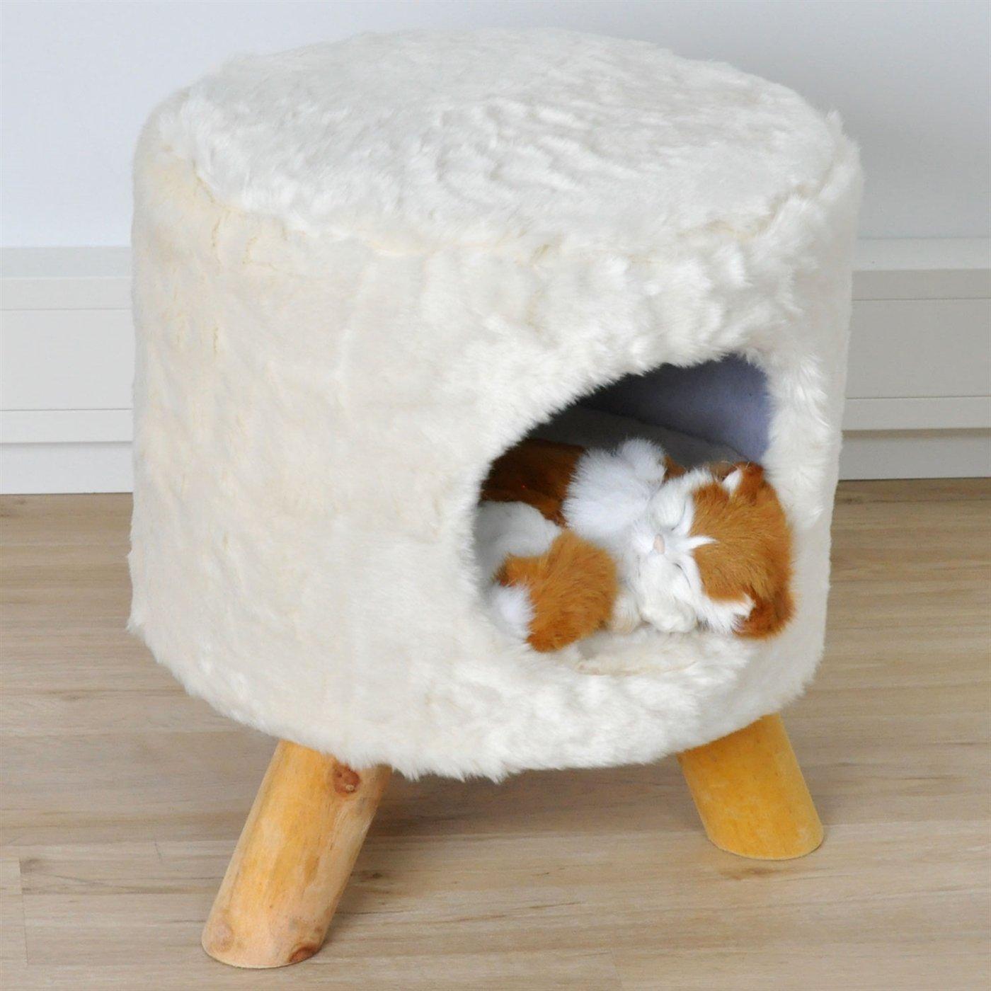 VOSS.PET Cuccia per Gatti a Sgabello Coco Colore Bianco