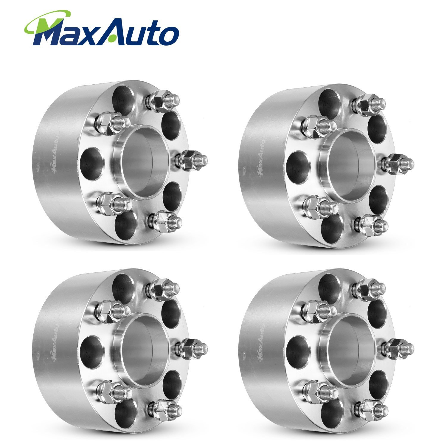 MaxAuto 64mm (2.5'') Thick 5x4.75/5x120.65 Hubcentric Wheel Spacers No Lip 12x1.5 Studs for 79-85 Cadillac Eldorad,03-09 Cadillac XLR,77-87 Chevrolet Impala,90-05 GMC Jimmy Silver (4) by MaxAuto (Image #1)