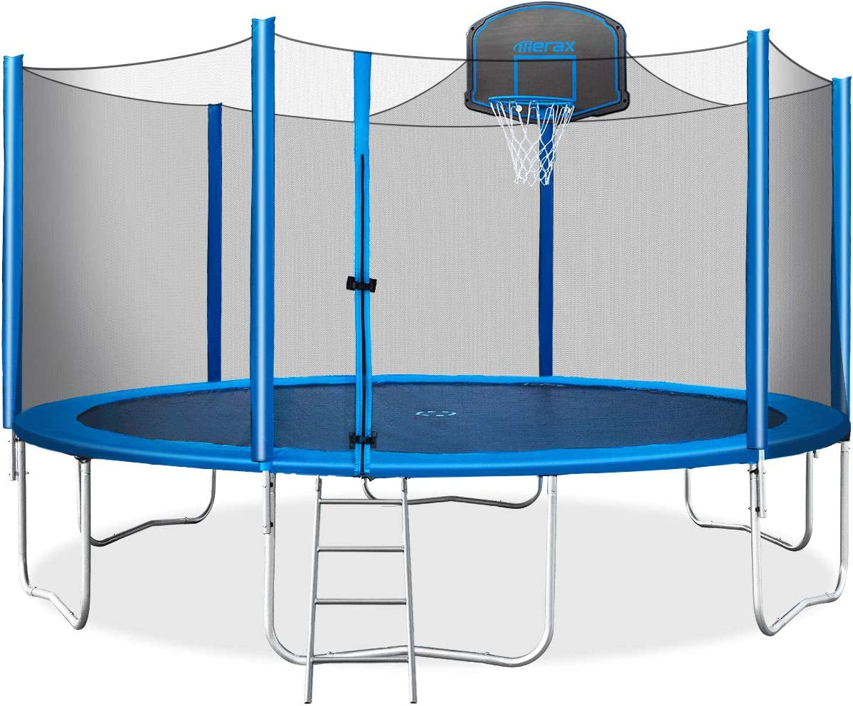 Merax 15 FT Trampoline with Safety Enclosure Net, Basketball Hoop and Ladder – 2020 Upgraded Kids Basketball Trampoline