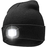 A.S Unisex Rechargeable 4 LED Knitted Beanie Hat for Camping, Fishing, Grilling, Auto Repair, Jogging, Walking, or Handyman Working, Hands Free Led Beanie Cap Extremely Bright