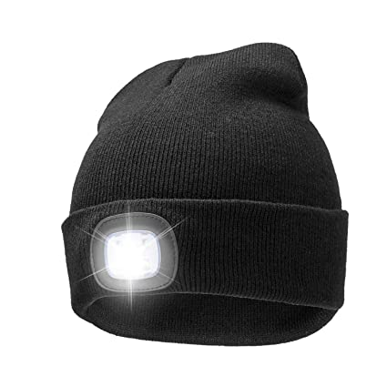 ec70ec66881df Amazon.com   A.S Unisex 4 LED Knitted Beanie Hat for Camping ...