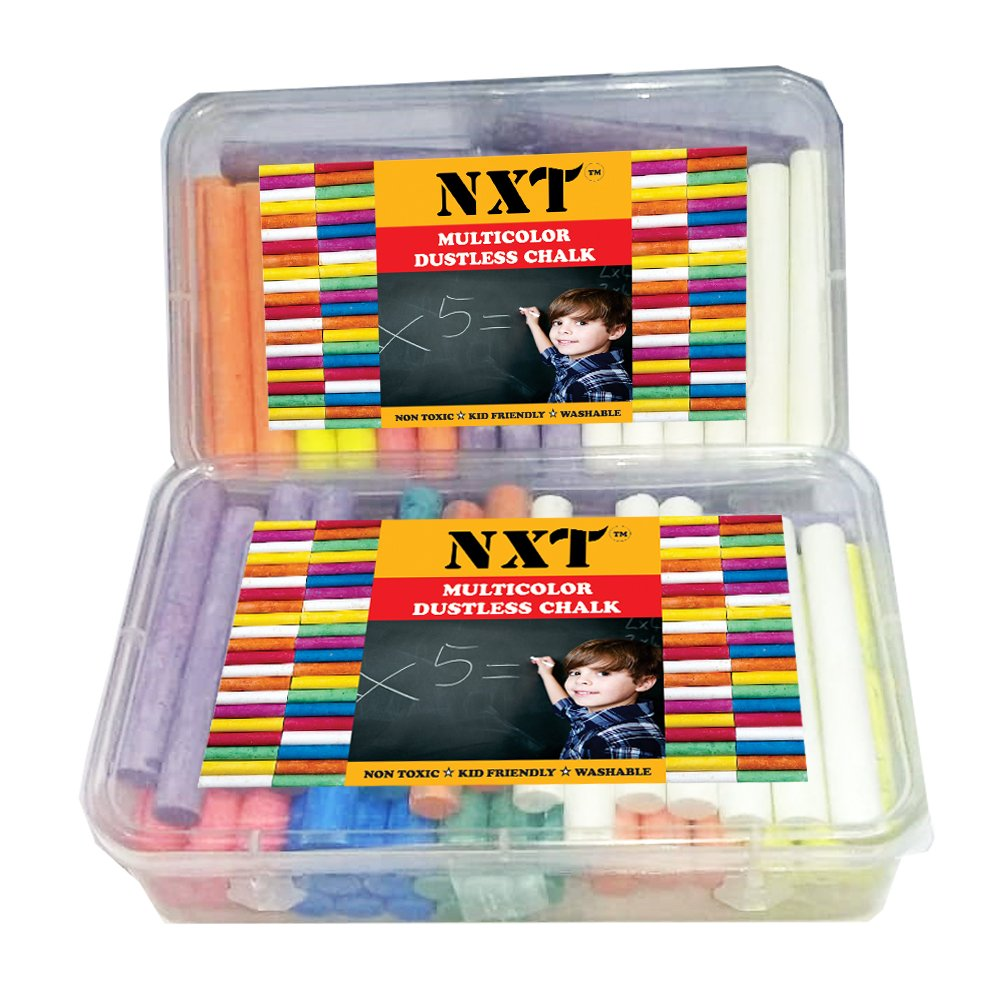 NXT Dustless Multicolor Chalks (60 Counts) Premium Quality, Non Toxic, Easily Washable and Eco Friendly Chalks by NXT (Image #4)