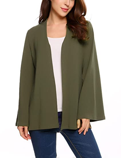 Soteer Womens Bell Sleeve Open Front Cardigan Soft Classic Sweater