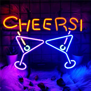 Neon Light Sign Cheers Neon Signs Real Glass Neon Sign Bar Signs Neon Lights for Bedroom Beer Bar Home Hanging Custom Neon Sign for Wall Decor Halloween Christmas Signs 16.5x13.5 Inch