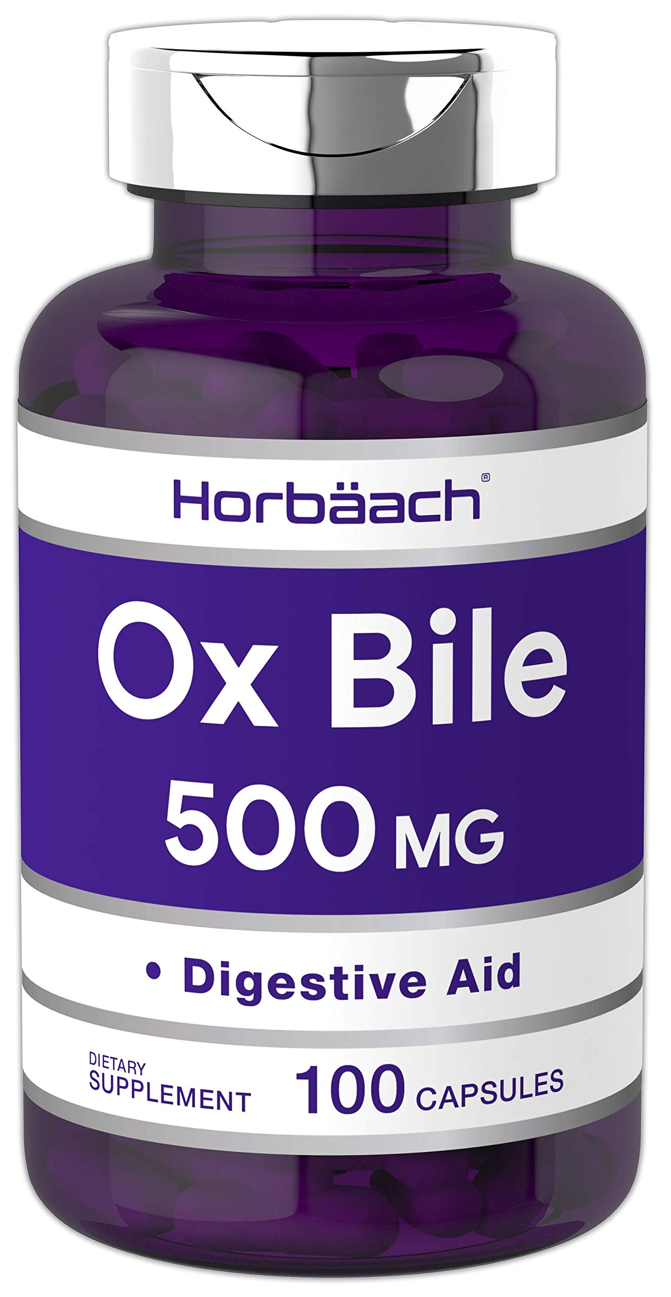 Horbaach Ox Bile 500 mg 100 Capsules   Non-GMO & Gluten Free   Digestive Enzymes Supplement, Purified Bile Salts for Gallbladder by Horbäach