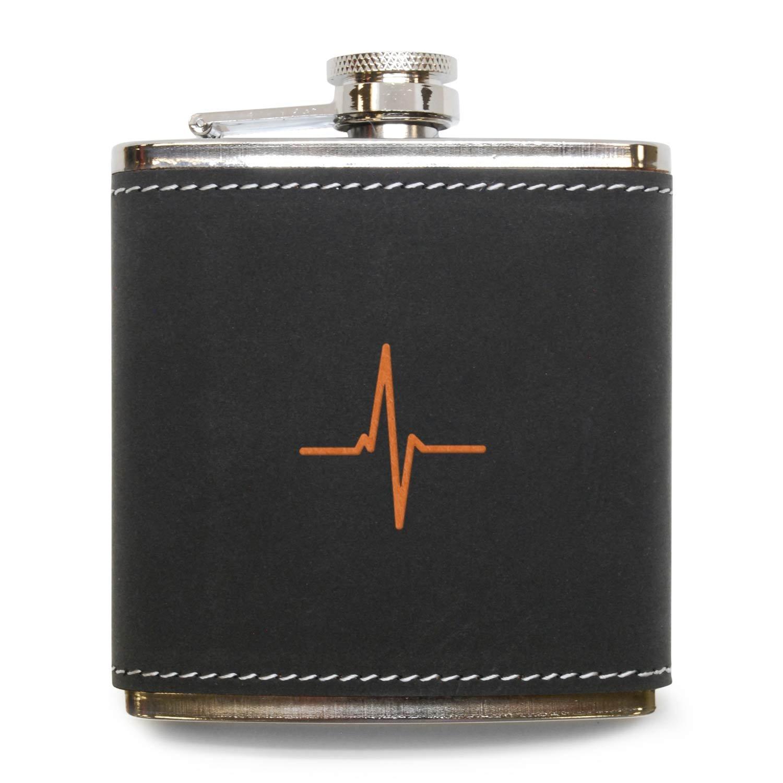 ー品販売  モダンGoods – Shop EKG Heart Beatフラスコ – ステンレススチールボディグレーレザーカバー B071JMPK3L – in 6オンスレザーヒップフラスコ – Made in USA B071JMPK3L, 大津郡:3cfde9d4 --- a0267596.xsph.ru