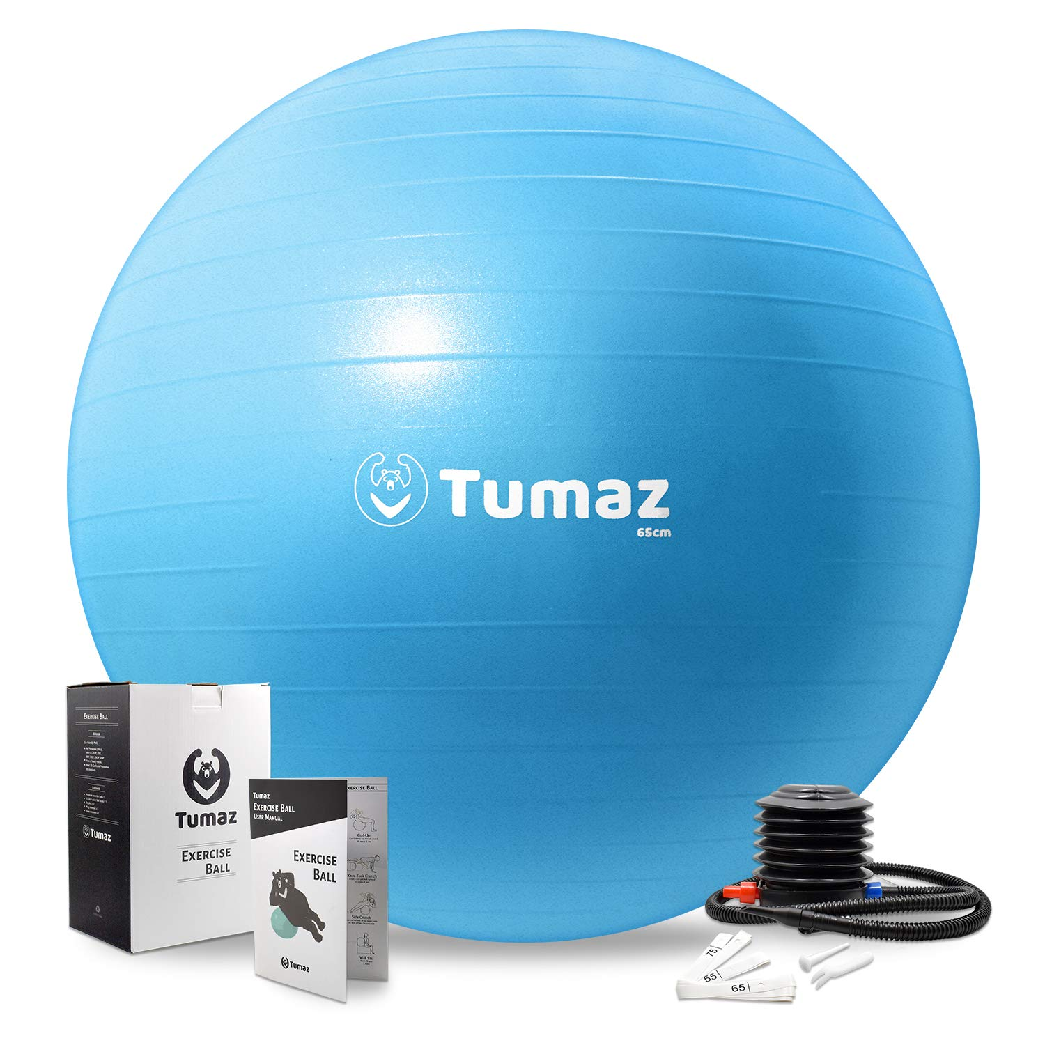 Tumaz Birth Ball Including Birthing Ball/Peri Bottle/Yoga Strap/Non-Slip Socks - Premium Birth Ball Set with Quick Foot Pump & Instruction Poster, The Perfect All-in-One Gift for Mom (Exercise Ball)