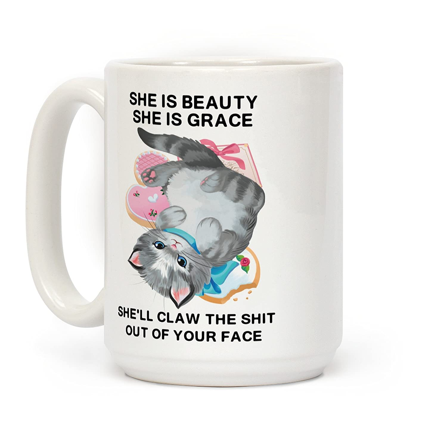 LookHUMAN Shell Claw the Shit Out Of Your Face White 15 Ounce Ceramic Coffee Mug