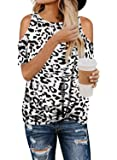 Diukia Women's Summer Leopard Print Cold Shoulder T-Shirt Casual Short Sleeve Twist Knot Tunic Tops