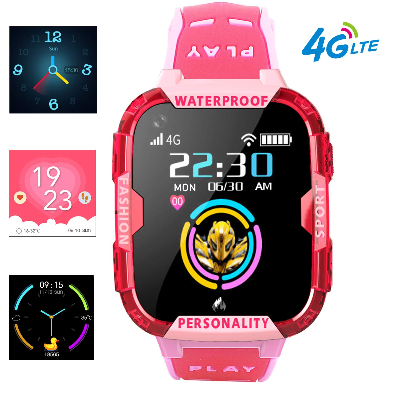 PTHTECHUS 4G Kids Smart Watch Phone - WiFi GPS Tracker Boys Girls Waterproof Smartwatch Touch Screen Watch with Call Voice Video Chat Pedometer ...