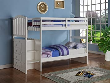 Amazon Com White Mission Style Staircase Bunk Bed With Built In