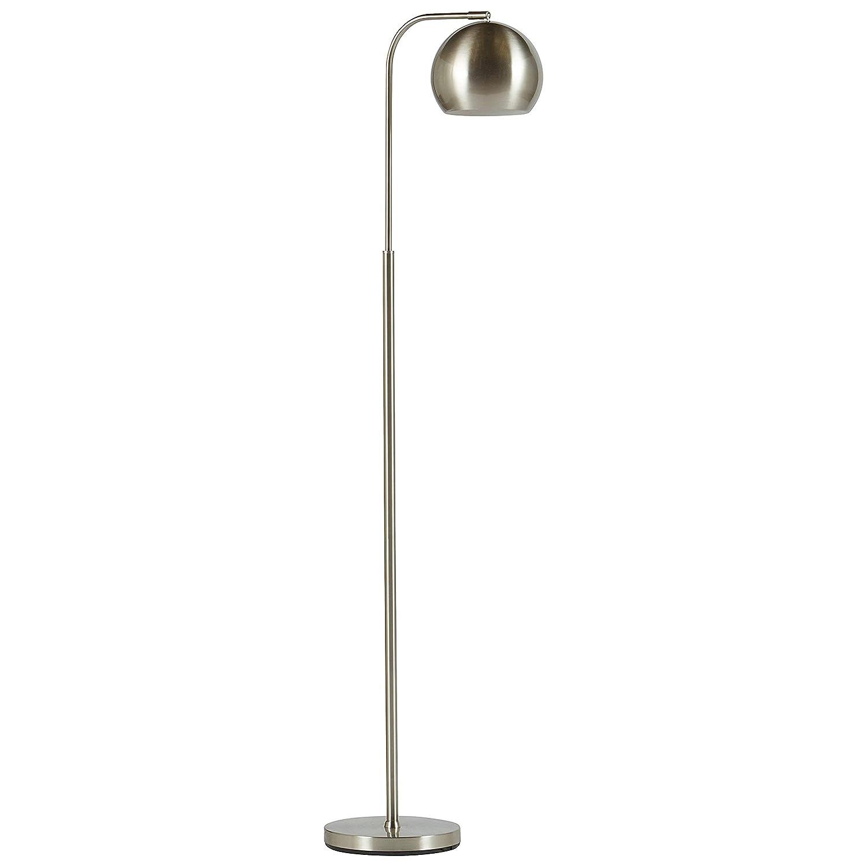 "Rivet Adjustable Arm Mid-Century Floor Lamp, 59""H, With Bulb, Brushed Nickel"