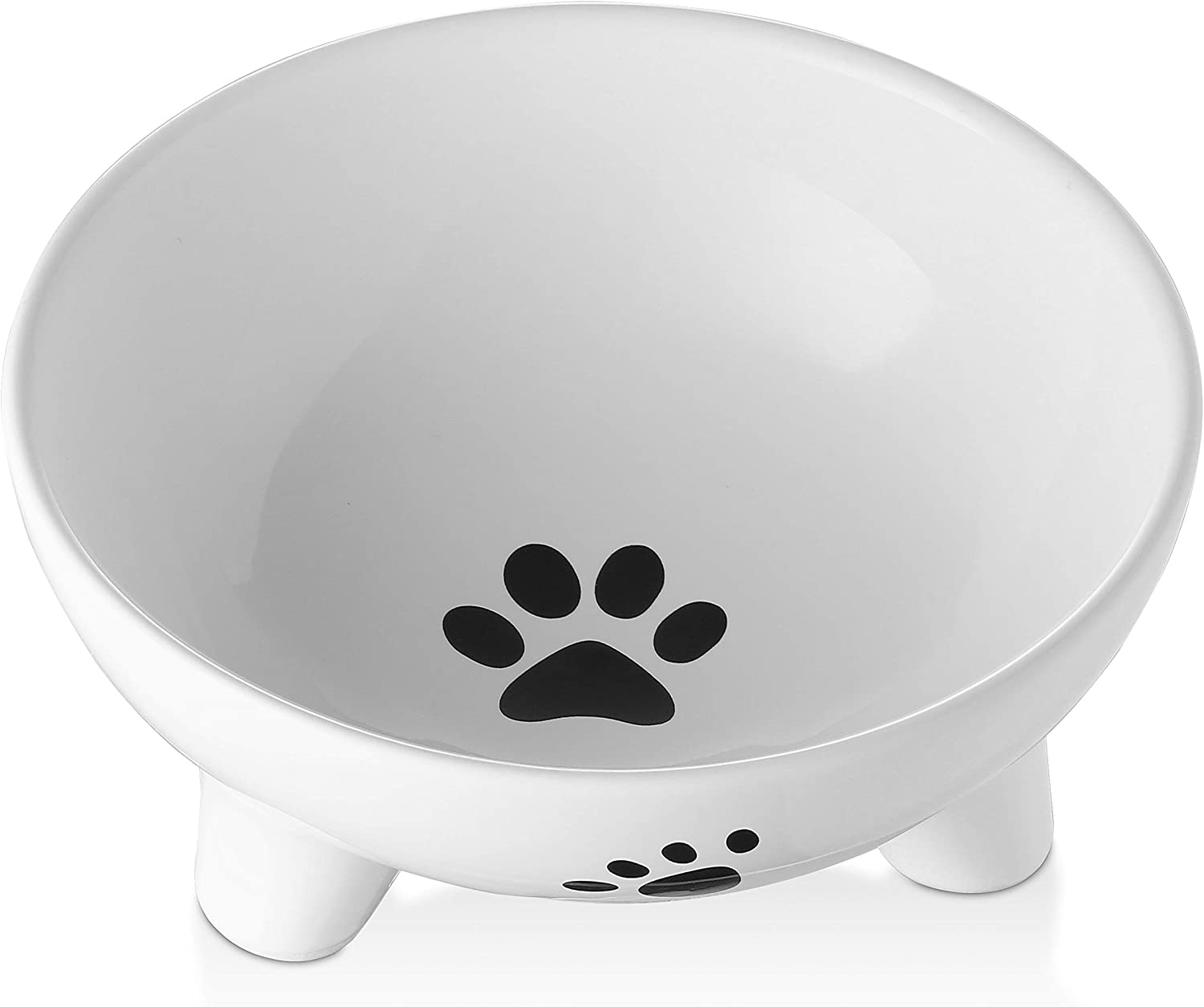 Y YHY Pet Bowls for Cats and Small Dogs,27 Ounces Ceramic Small Dog Bowls,Elevated Cat Bowl Anti Vomiting,Raised Cat Food Dish,Microwavable and Dishwasher Safe,White