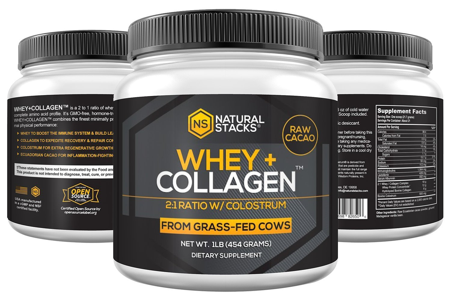 Whey Protein Powder-Natural Stacks-Natural Whey + Collagen-30 Day (Cacao)