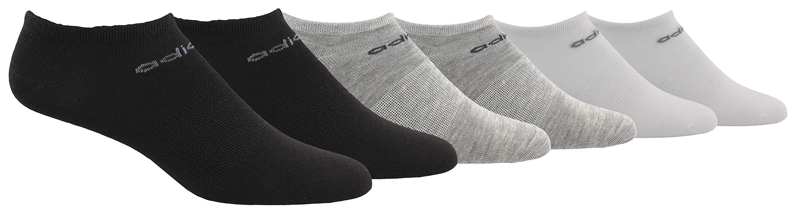 adidas Women's Superlite No Show Socks (6-Pair), Black/Light Heather Grey/White/Onix/Light Onix, Medium, (Shoe Size 5-10) by adidas