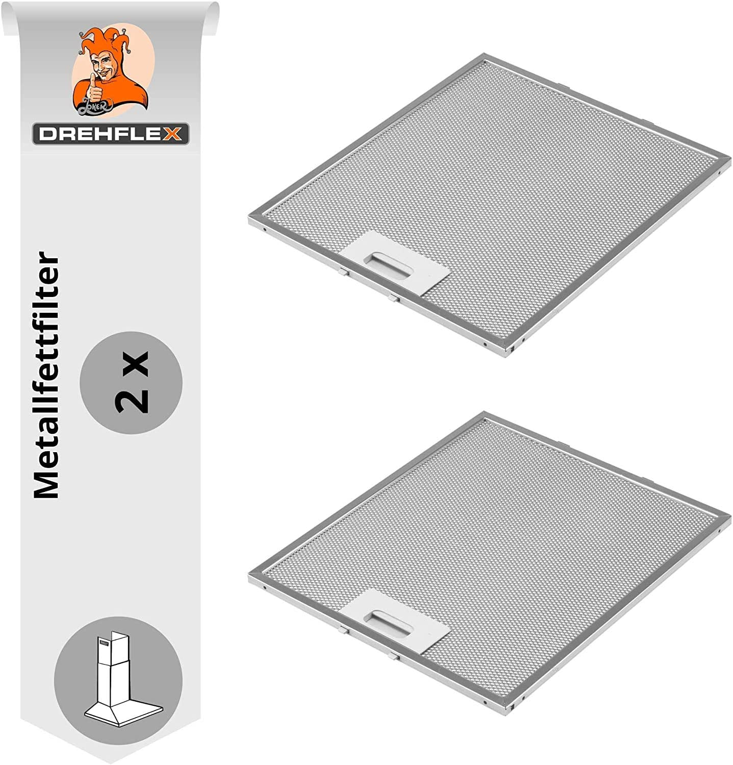 DREHFLEX AK109-2 - 2 filtros metálicos para campana extractora (305 x 267 mm, AEG Electrolux 405525042-9 Elica GRI0009219A KIT0010805 93952919 Whirlpool Bauknecht 480122102168 C00314158 ARI314158)