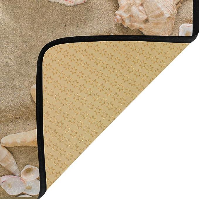Agona Anti Fatigue Kitchen Mat Beach Seashells Starfish Pebbles Kitchen Rugs Non Slip Soft Standing Mats Absorbent Floor Mat Bath Rug Runner Area Rug Carpet For Home Decor Indoor Outdoor Home