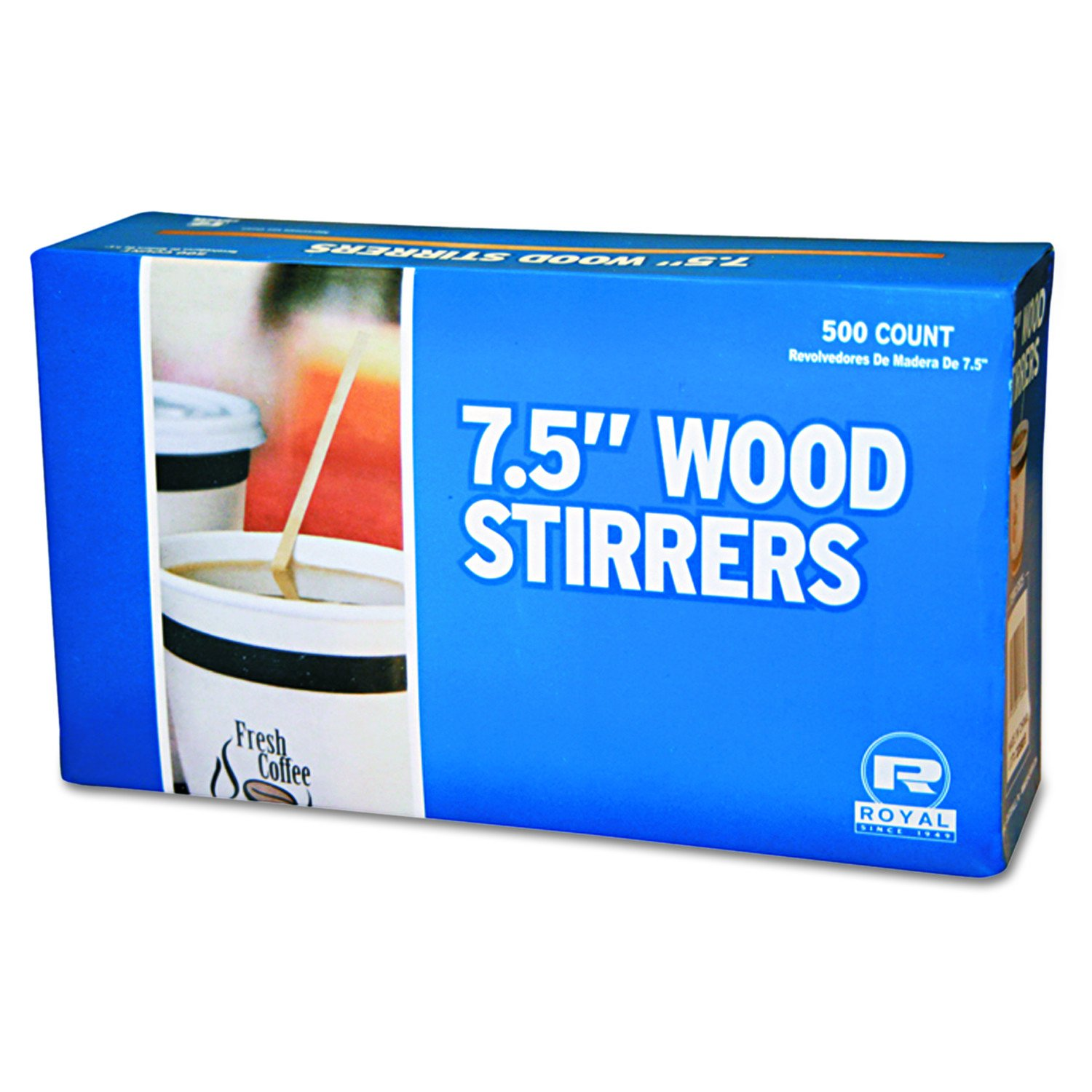 Royal R825 7-1/2 Inch Wood Coffee Stirrer 500-Pack