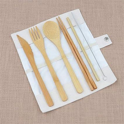 Juegos de Utensilios de Bambú Cubertería Juego de Cubiertos de Viaje de Bambú Tenedor Cuchara Cuchillo
