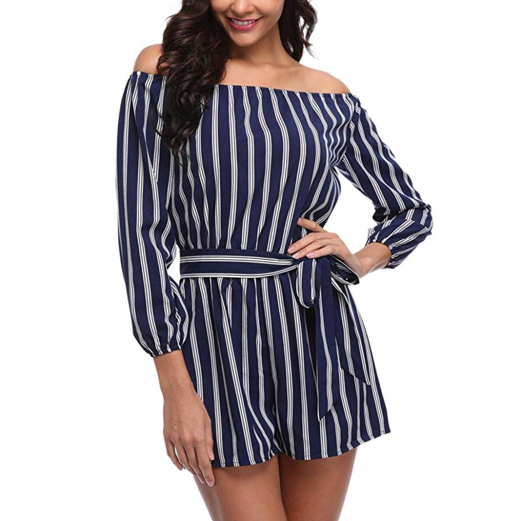 Lazzboy Women Off Shoulder Three Quarters Sleeve Striped Playsuit Belt Jumpsuit: Amazon.co.uk: Clothing