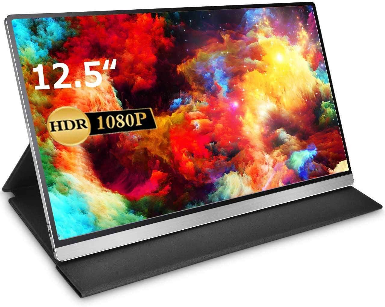 モバイルモニター モバイルディスプレイcocopar 12.5インチ スイッチ用モニター 非光沢IPSパネル 薄い 軽量 1920x1080FHD HDRモード/FreeSync対応/ブルーライト機能 USB Tpye-C/mini HDMI/カバー付 3年保証付 PSE認証済み dg-125mx