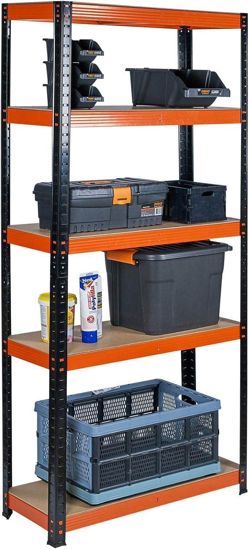 168 x 75 x 30 cm plateado aspecto industrial Estantes organizadores de almacenamiento de metal de 5 niveles estante para almac/én y almacenamiento trasero 2 colores disponibles
