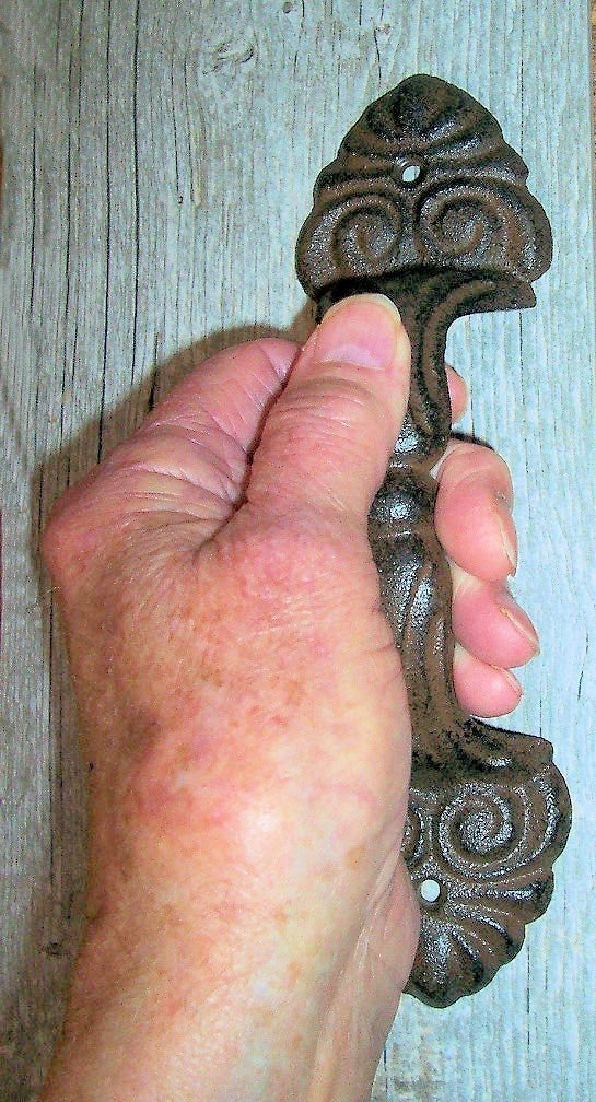 ''ABC Products'' - Heavy Cast Iron - Colonial Design - Handle or Pull - Large Size - For Barn Door, Cabin, Cottage Home - (Rustic Dark Bronze Finish)