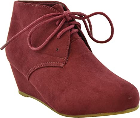 Kids Ankle Boots Faux Suede Low Heel