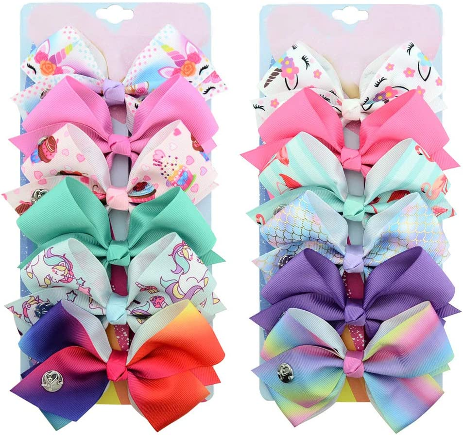 Mermaid+Rainbow 5 Inch Cute Mermaid Unicorn Rainbow Colorful Hair Bows Clip Accessories Gifts for Toddlers Girls 12-Pcs
