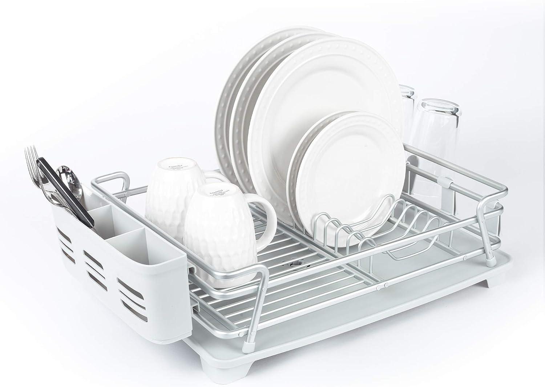 Real Home Innovations Designer Series Verona Single Tier Dish Rack, Extra Large, Satin Aluminum Gray