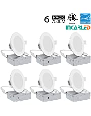 INCARLED 4Inch LED Recessed Slim Pot Light with Junction Box, Dimmable LED Recessed Ceiling Light/Potlight, 9W 750LM, Cool White/5000K (6pack)