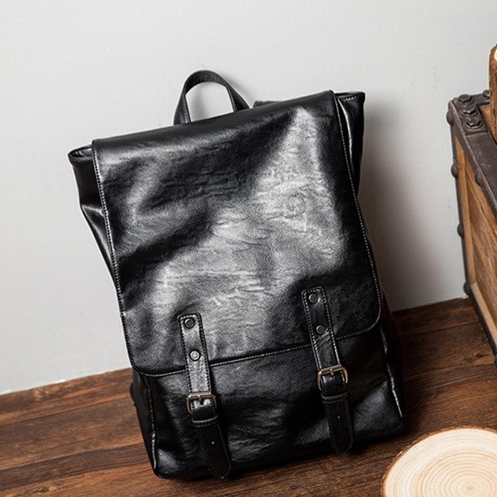 Mayanyan Vintage Mens Square Soft Leather Double Shoulder Bag Black Lap Simple Backpack