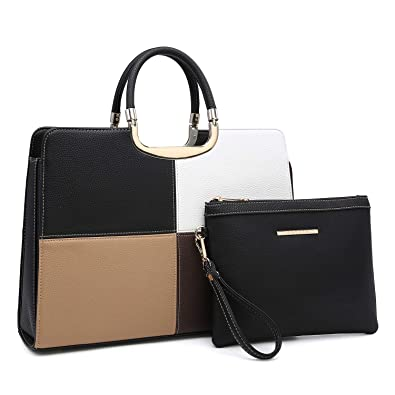 100% top quality large assortment on feet at Women's Fashion Lightweight Sturdy Briefcase Satchel Tote Top Handle  Shoulder Bags Work Bags Fit 13 Inch iPad Laptop Matching Wallet