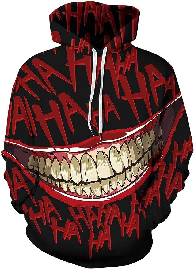 PIZOFF Unisex Long Sleeve Realistic 3D Print Halloween Hoodie Pullover Sweatshirts