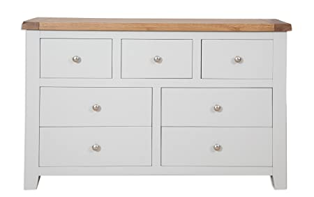Canberra Grey Rustic Oak Top  Drawer Wide Chest Of Drawers Solid Oak Top
