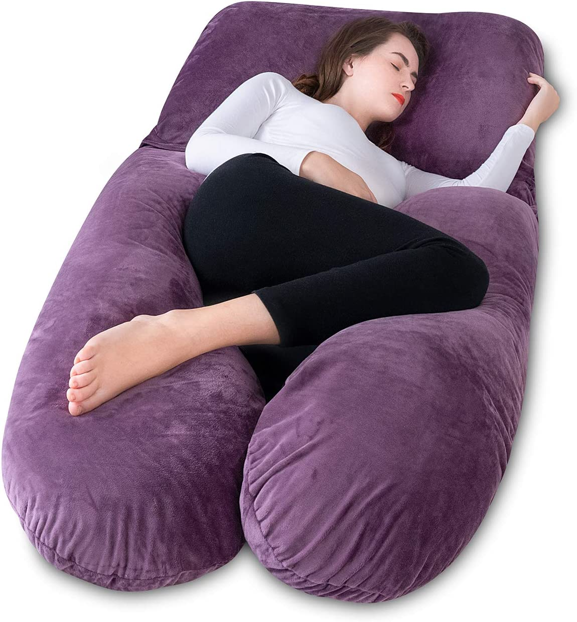 Legs and Belly Meiz Pregnancy Pillow with Velvet Cover,Adjustable Belt and Detachable Extension Hips Purple U-Shape Full Body Pillow for Support Back
