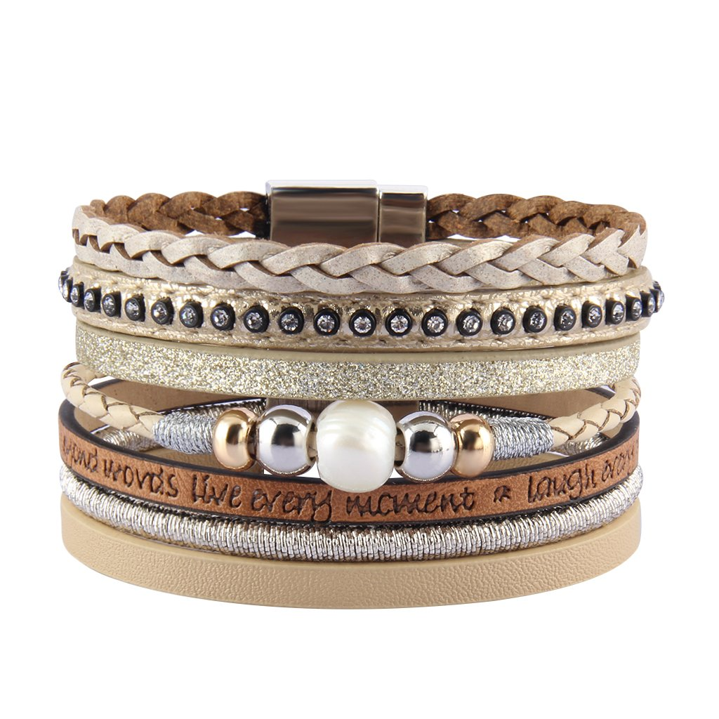 COOLLA Braided Wrap Bracelet Pearl Beads Leather Cuff Bangle Women Bracelet (Beige)