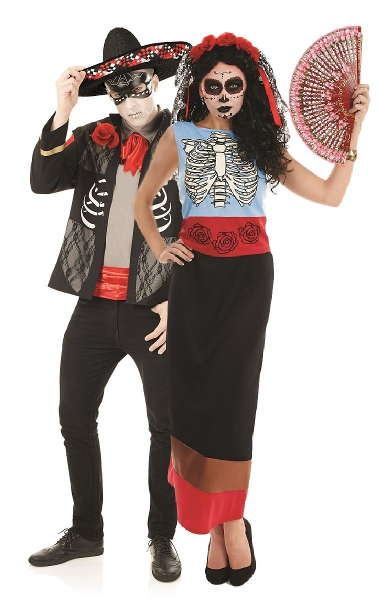 Paare Damen & Herren Day Of The Dead hilft & Señorita Halloween Sugar Skull Skelett Full/Länge Lang Fancy Dress Kostüm Outfits