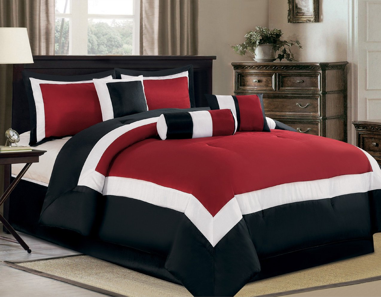 amazoncom 7 piece oversize burgundy black white color block milan comforter set 106 x 94 king size bedding home kitchen - Black And White Comforter Set