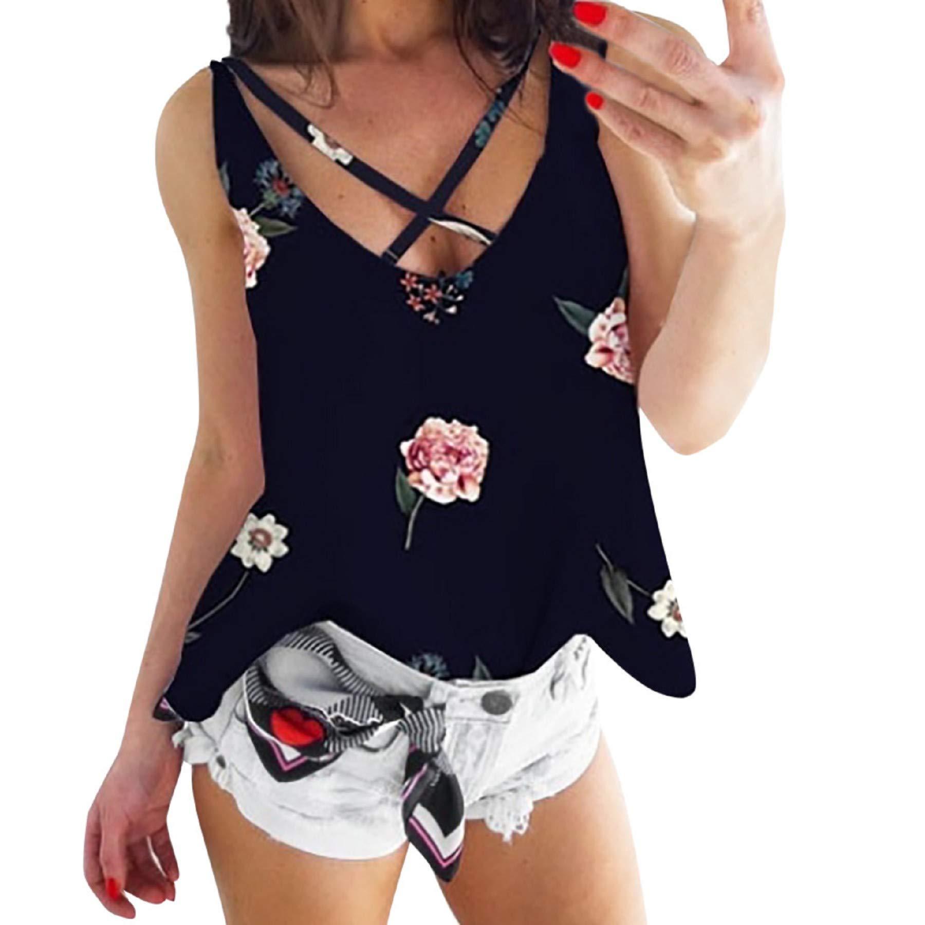 Women's Floral Print V Neck Sleeveless Camis Tops Ladies Casual Summer Criss Cross Blouse Tank Top Vest Black