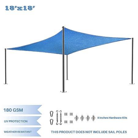 E K Sunrise 18 x 18 Blue Rectangle Sun Shade Sail with Stainless Steel Hardware Kit Outdoor Shade Cloth UV Block Fabric,Curve Edge-Customized