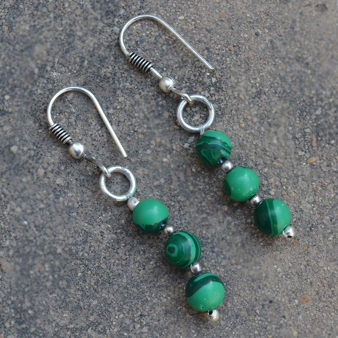Saamarth Impex Malachite 925 Silver Plated Dangle Earring PG-131960