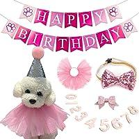 HIFEOS Suministros para fiesta de cumpleaños para perro, bandana para perro, falda tutú linda, sombrero de cumpleaños…
