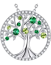 August Birthstone Created Green Peridot Necklace Tree of Life Green Emerald Pendant Necklace for Women Teen Girls Birthday Gifts Mom Wife Love Family Sterling Silver Fine Jewelry