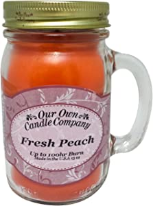 Our Own Candle Company Fresh Peach Scented 13 Ounce Mason Jar Candle