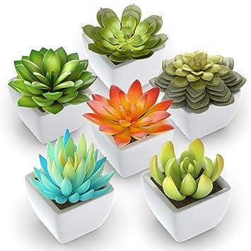 Pack Of 6   Mini Fake Succulents Artificial Plants   Ceramic White Potted Succulents   Faux Succulents Plants For Home Office Shelf Decorations by Shop Zon Fake Succulents