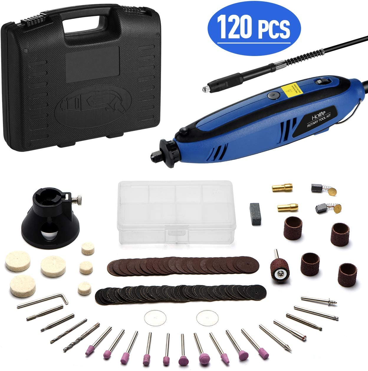 Holife Rotary Tool Kit, 120PCS Rotary Accessory Kit with Variable Speed, Flexible Shaft, Multi-function for Craft, Wood Carving, Sanding