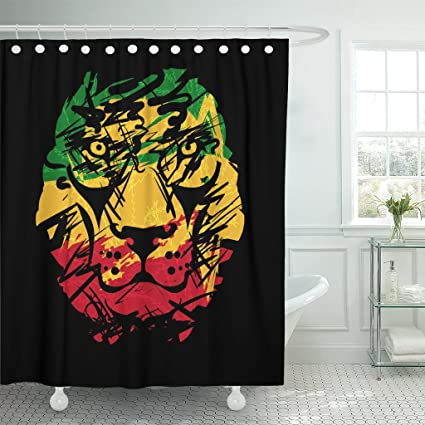 Lovely TOMPOP Shower Curtain Green Reggae Rasta With Lion Head On Black Red Bob  Marley Waterproof Polyester
