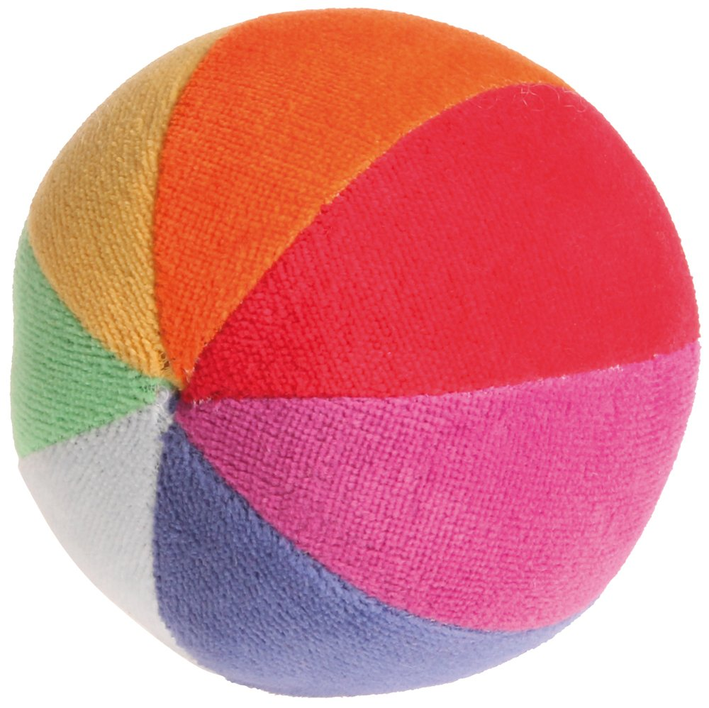 Grimm's Soft Organic Rainbow Ball with Gentle Rattle - First Ball for Baby